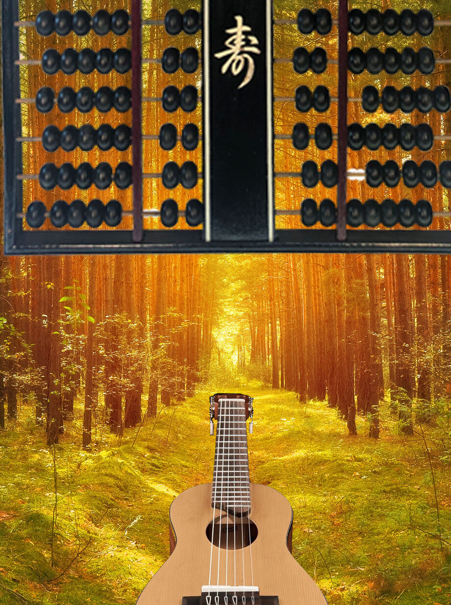 Abacus Path in woods with guitar